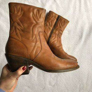 Chloe Tan Embroidered Leather Boots